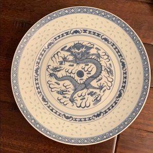 2 Chinese Rice Eye Blue & White Dinner Plates